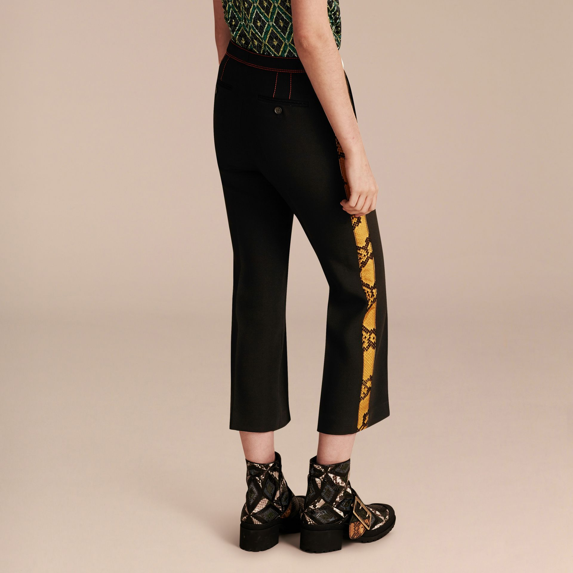 Black Python Print Trim Cropped Tailored Trousers - gallery image 3