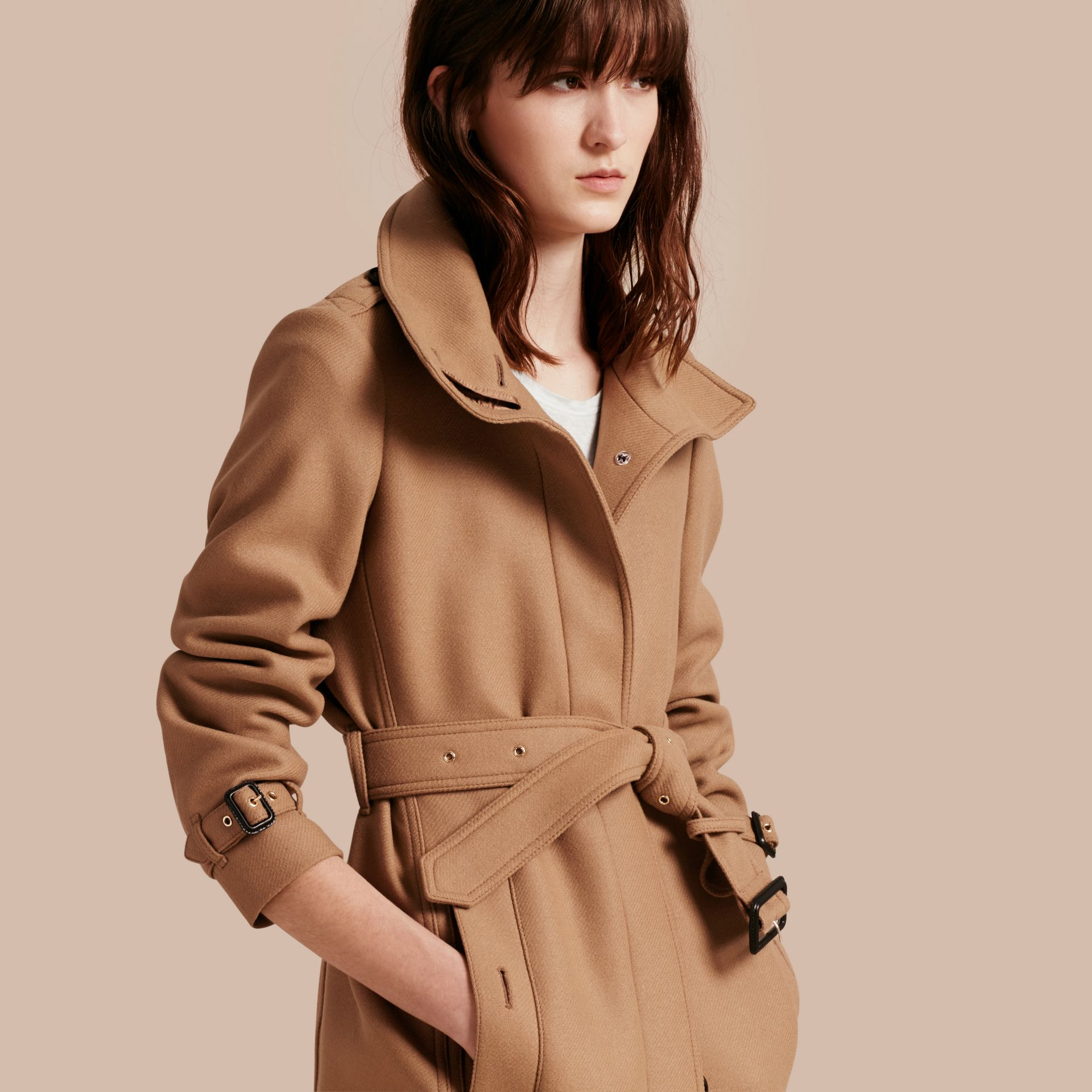 Technical Wool Cashmere Funnel Neck Coat in Camel - gallery image 1