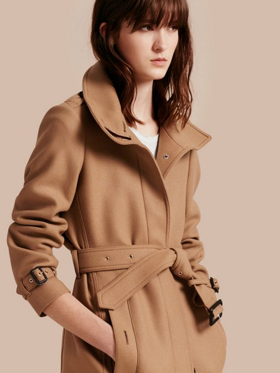 Technical Wool Cashmere Funnel Neck Coat in Camel