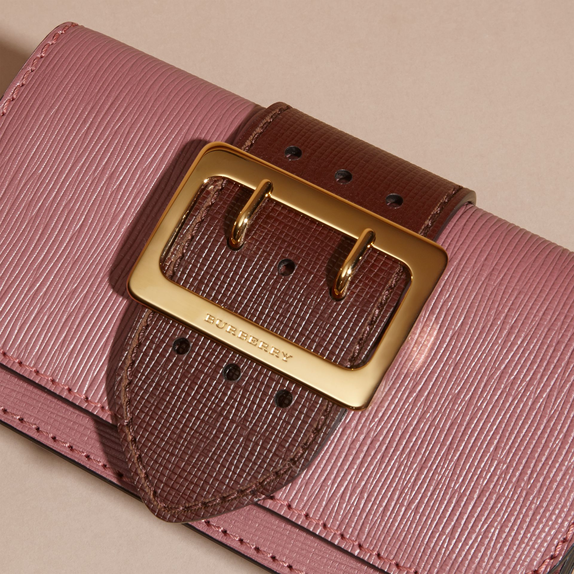 Dusky pink/ burgundy The Small Buckle Bag in Textured Leather Dusky Pink/ Burgundy - gallery image 2