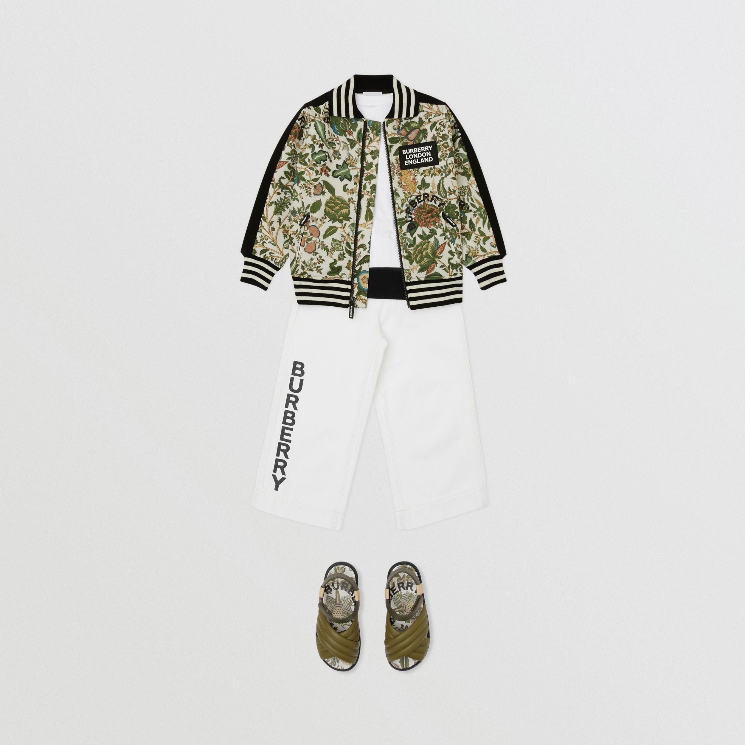 Botanical Print Neoprene Bomber Jacket in Olive | Burberry - 4