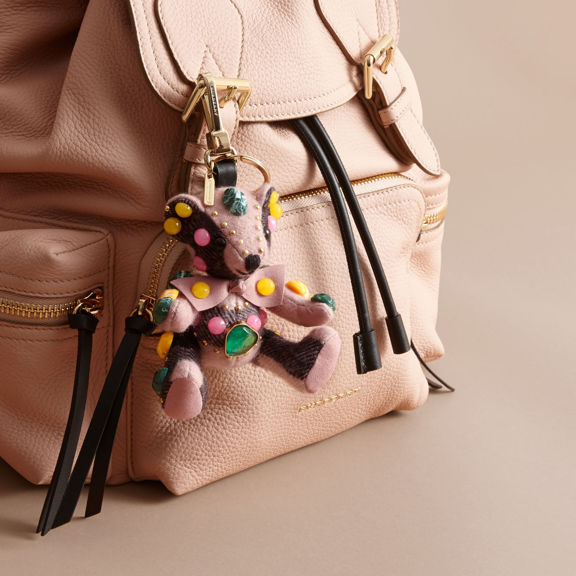 Thomas Bear Charm in Gem-embellished Check Cashmere in Ash Rose - Women | Burberry - gallery image 3
