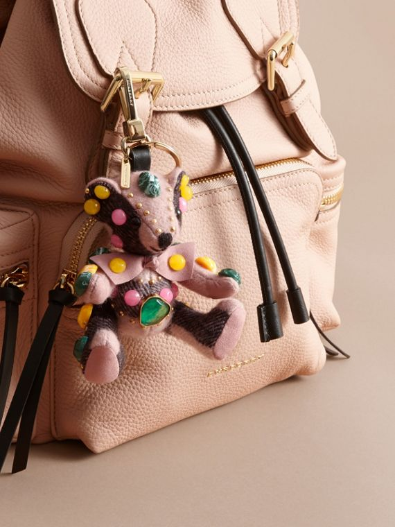 Thomas Bear Charm in Gem-embellished Check Cashmere in Ash Rose - Women | Burberry - cell image 2