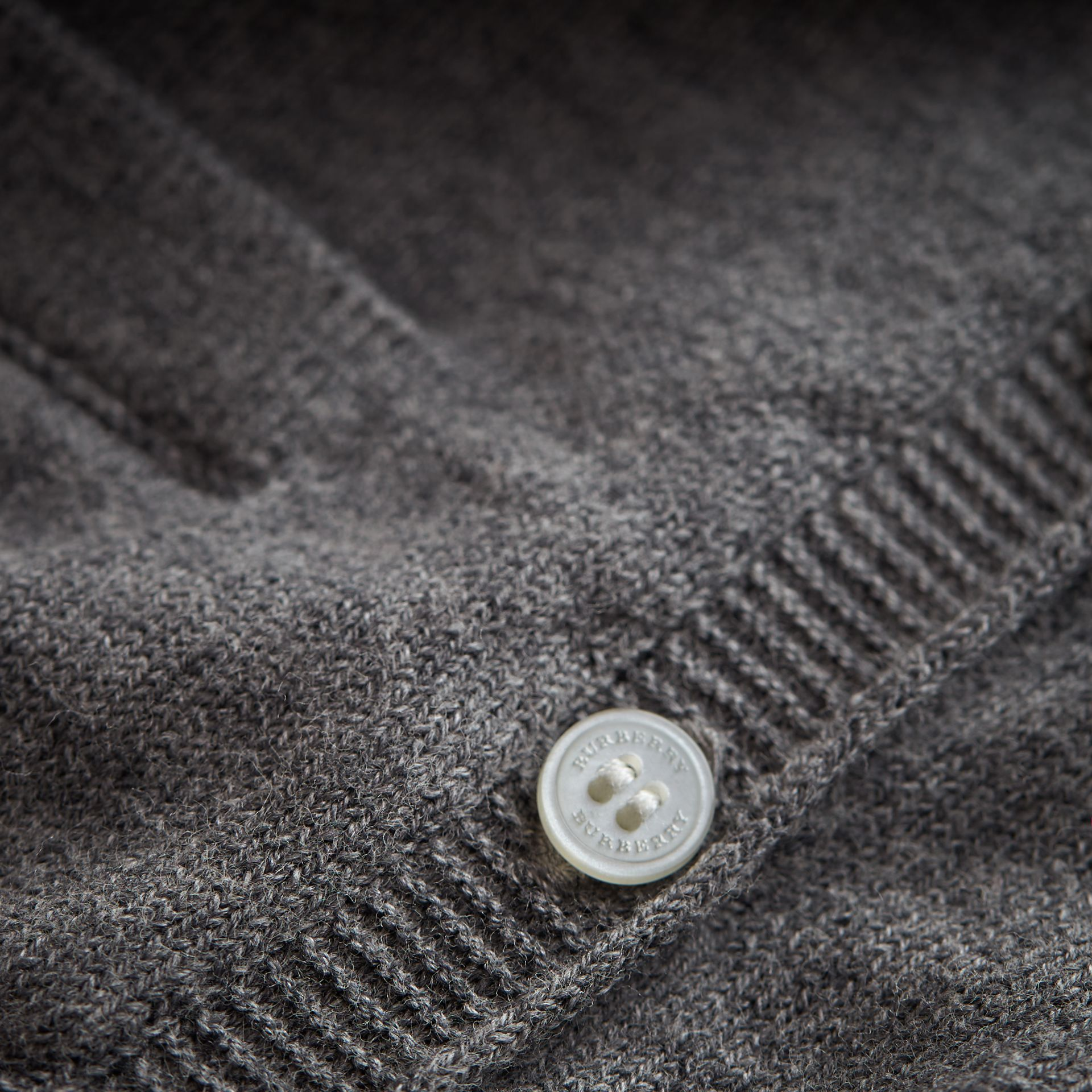 Knitted Cotton Cardigan in Mid Grey Melange | Burberry - gallery image 1