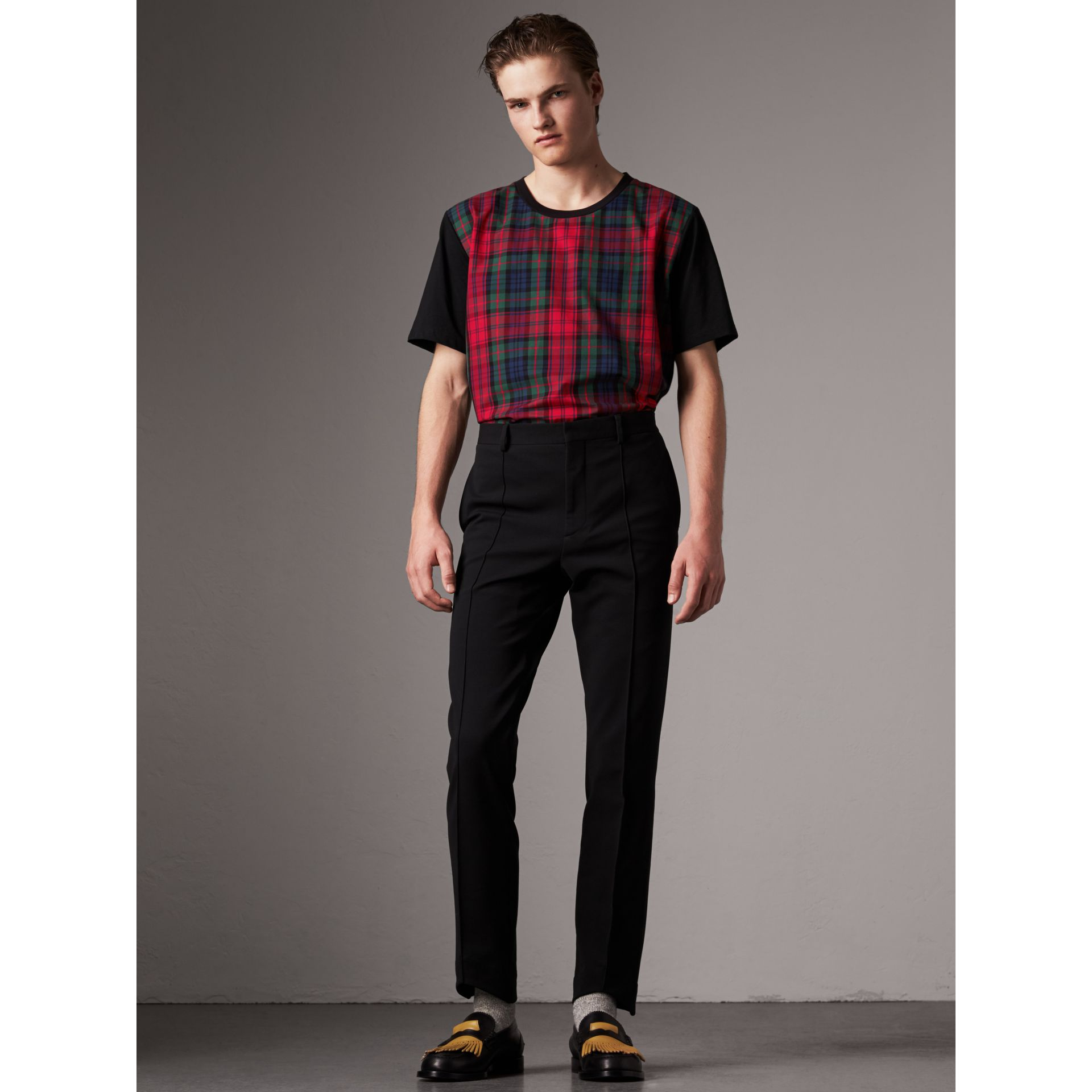 Tartan Panel Cotton T-shirt in Black - Men | Burberry Hong Kong - gallery image 0