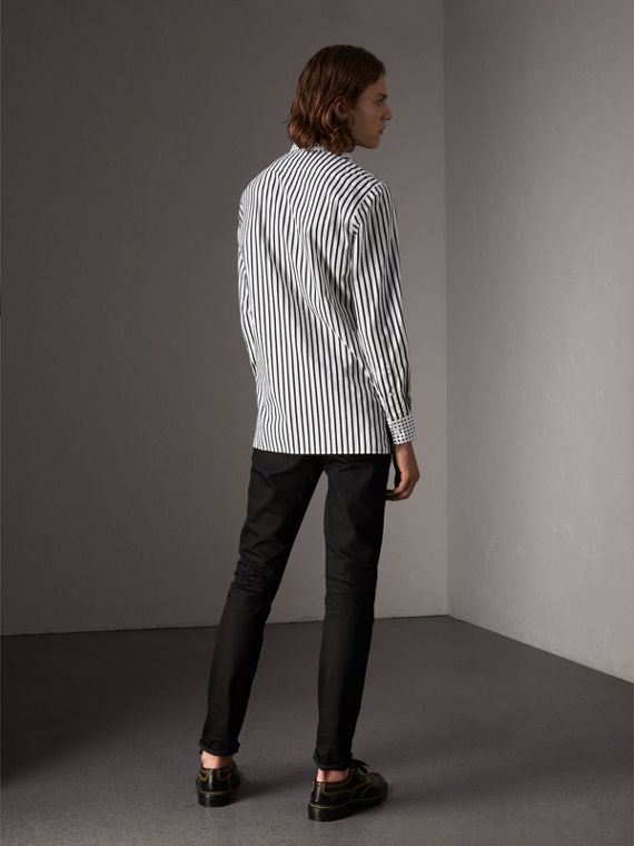 Stripe and Spot Print Cotton Shirt in Black - Men | Burberry Singapore - cell image 2