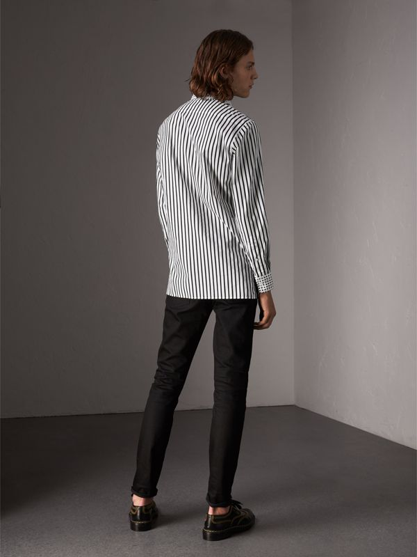 Stripe and Spot Print Cotton Shirt in Black - Men | Burberry - cell image 2