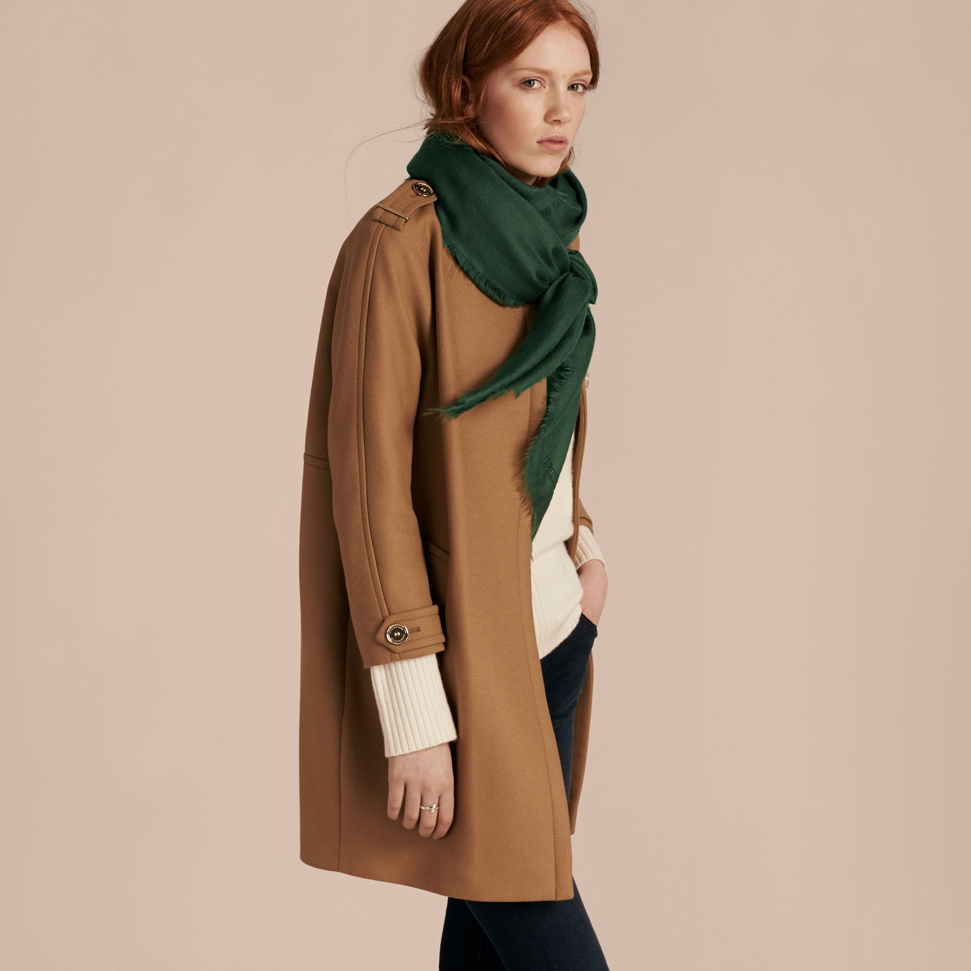 The Lightweight Cashmere Scarf in Dark Forest Green - gallery image 3
