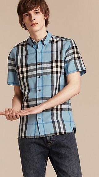 Camisa de manga corta en algodón y lino con checks