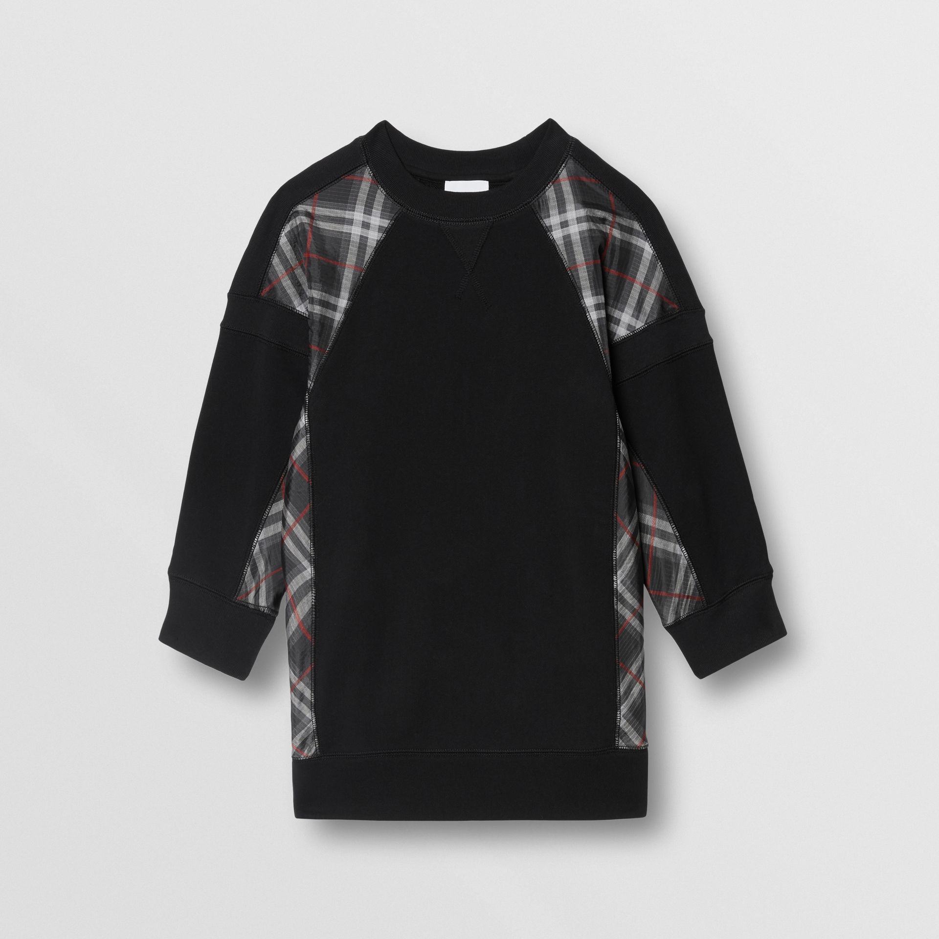 Vintage Check Panel Cotton Sweater Dress in Black | Burberry United Kingdom - gallery image 0