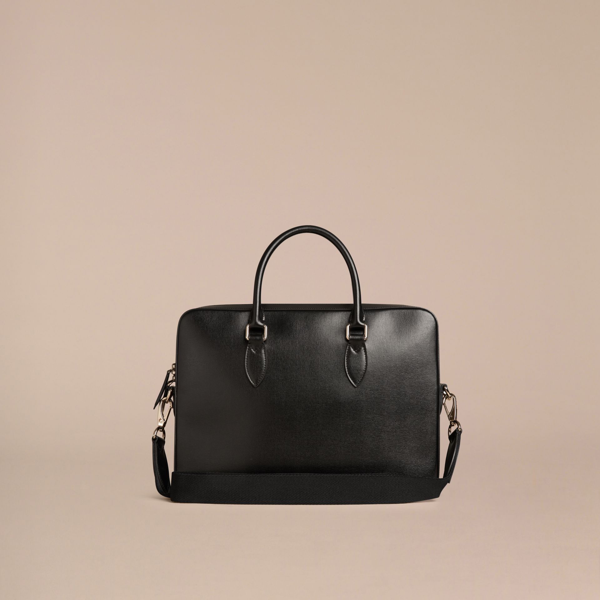 London Leather Briefcase in Black - Men | Burberry - gallery image 4