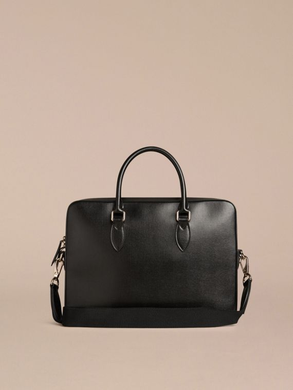 Black Medium London Leather Briefcase Black - cell image 3