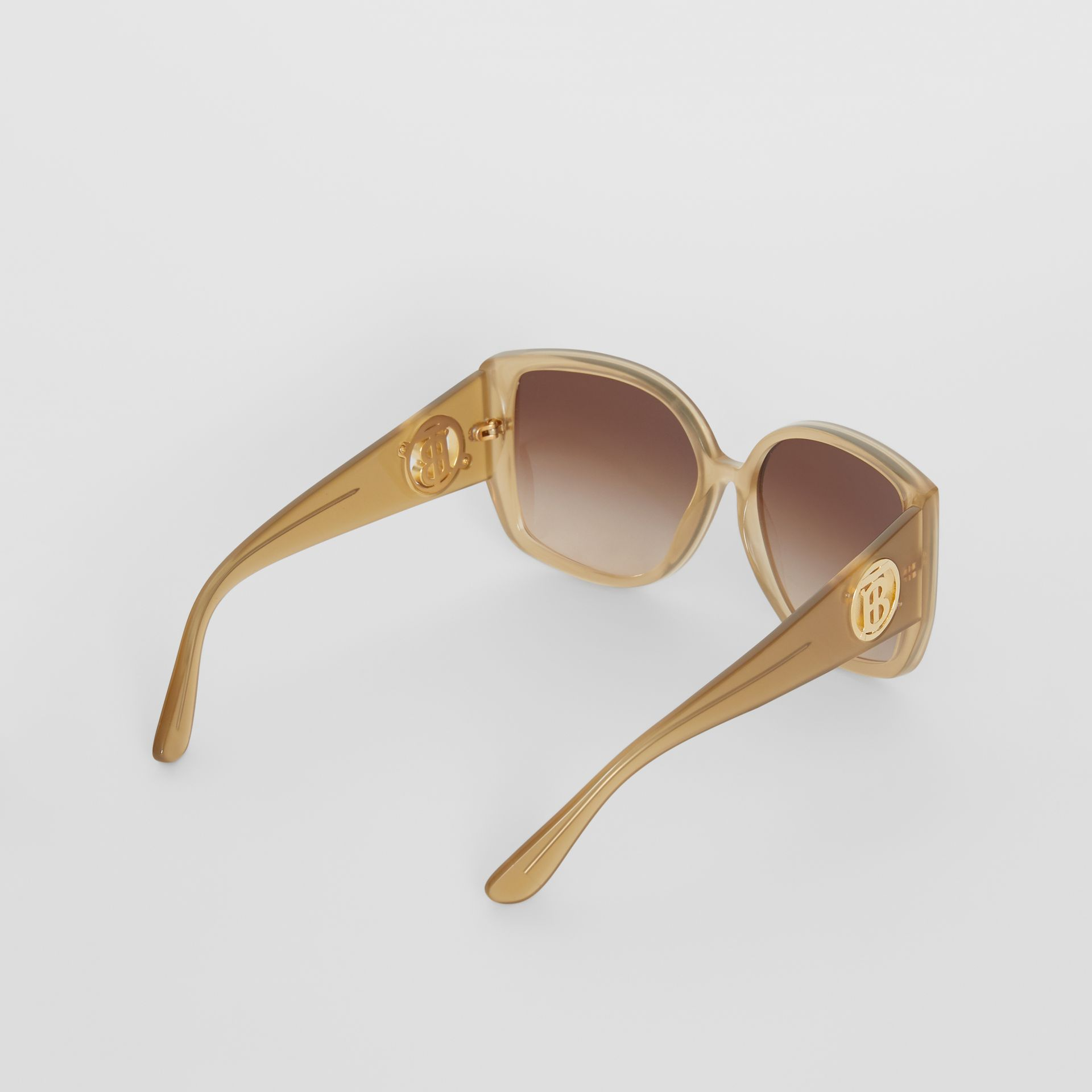 Oversized Butterfly Frame Sunglasses in Beige - Women | Burberry - gallery image 4