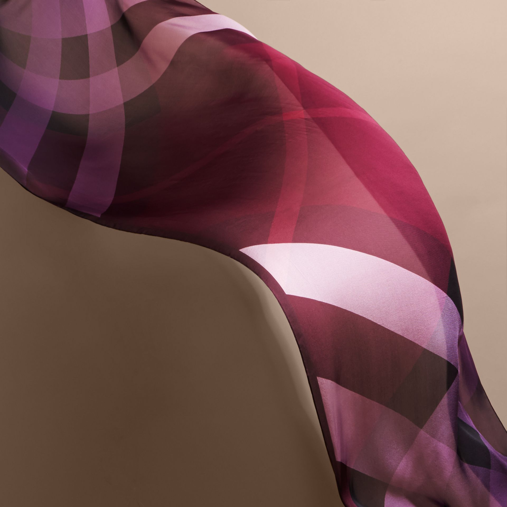 Ombré Washed Check Silk Scarf Plum - gallery image 4