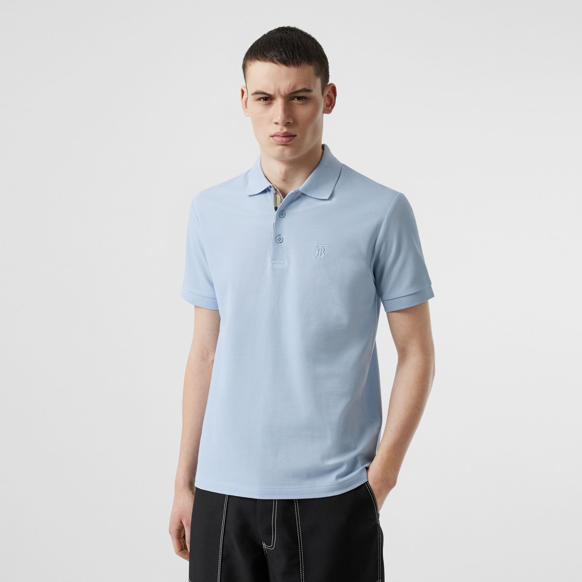 Monogram Motif Cotton Piqué Polo Shirt in Pale Blue - Men | Burberry - gallery image 4