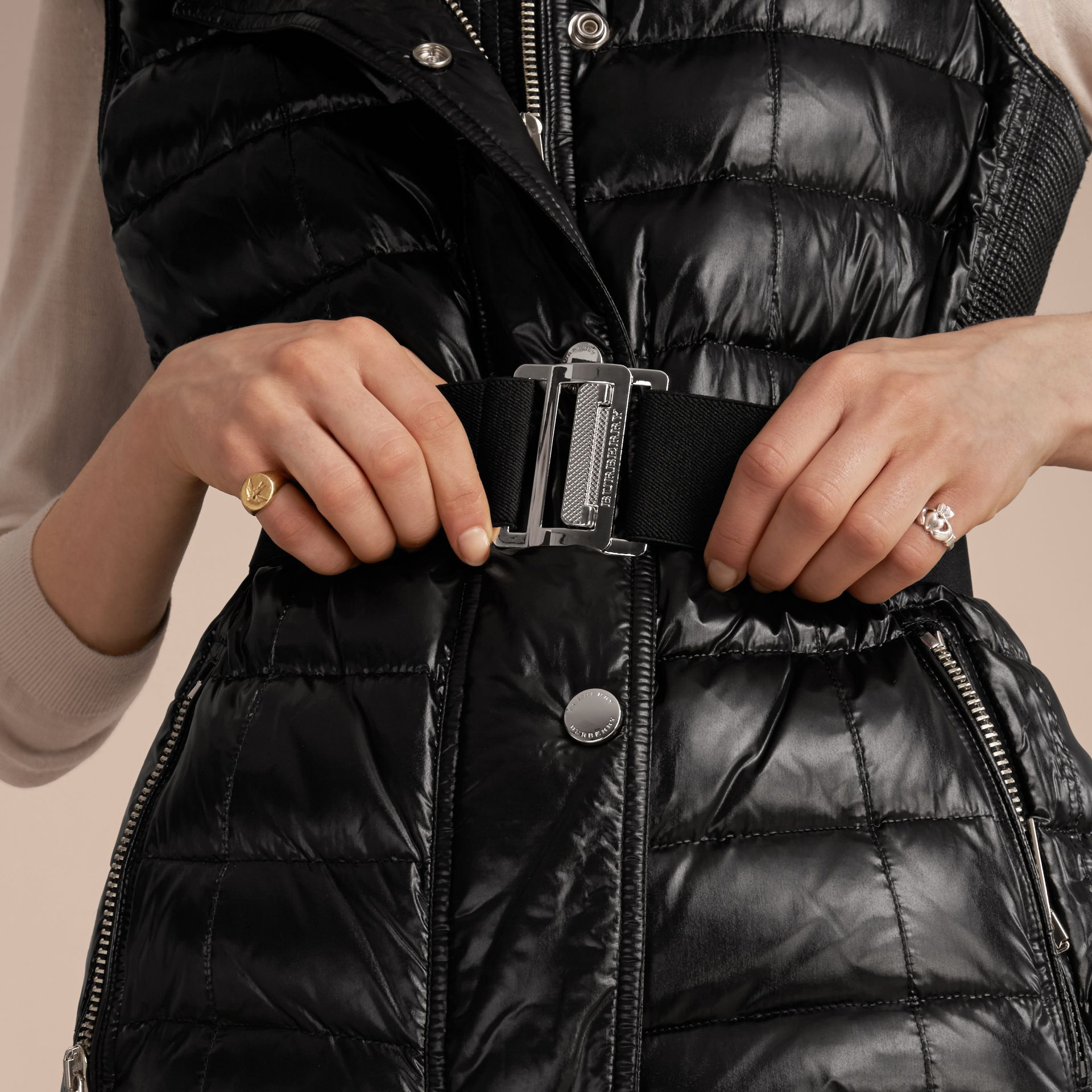 Black Down-filled Gilet with Detachable Fur-trimmed Hood - gallery image 5