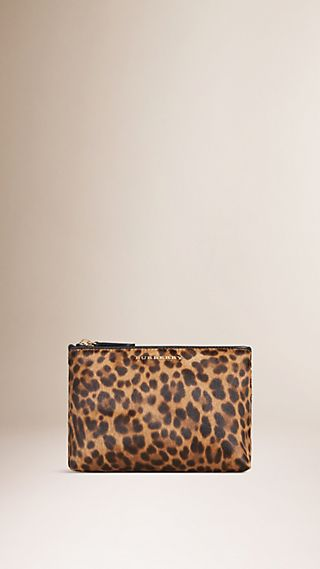 Medium Animal Print Calfskin Beauty Pouch