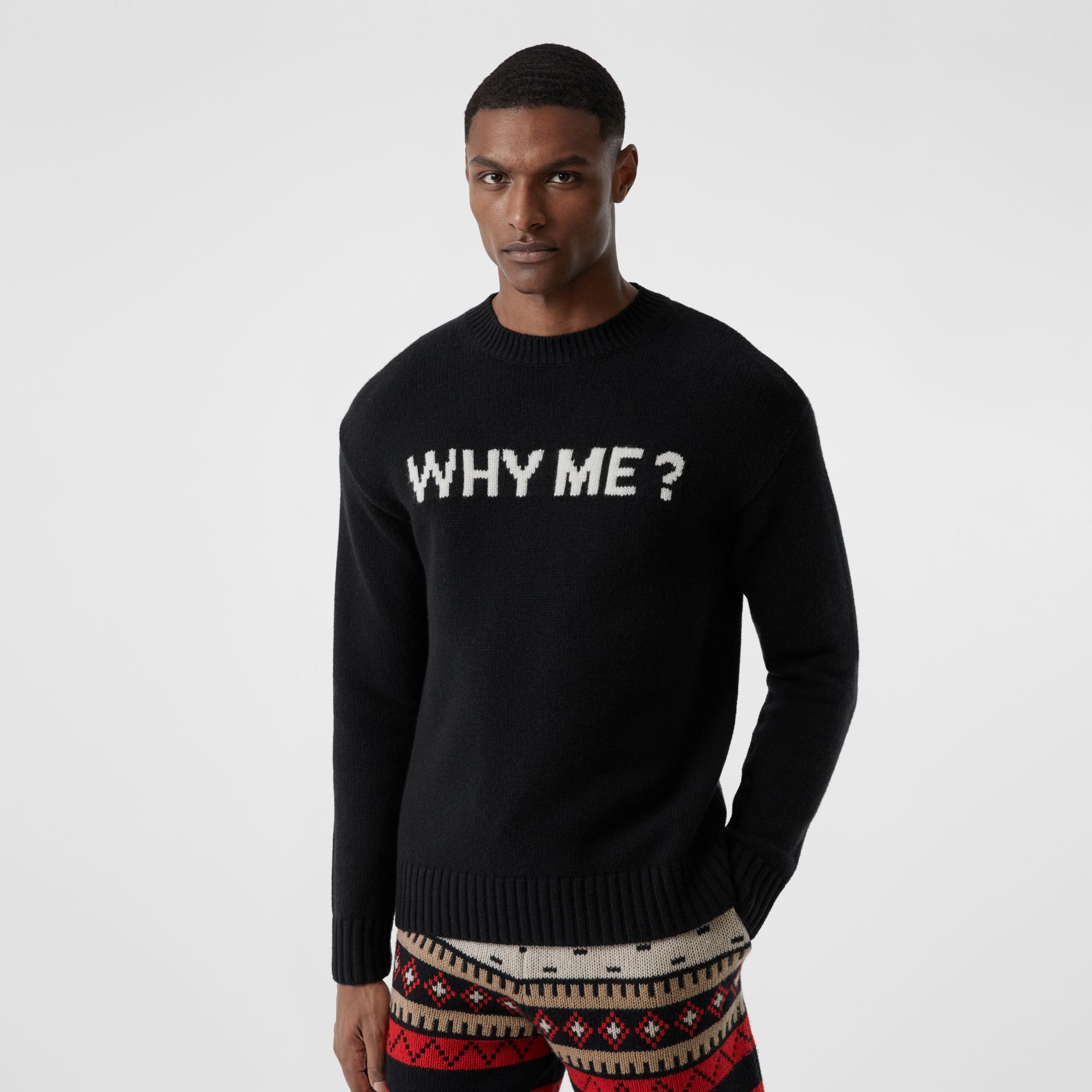 Slogan Intarsia Cashmere Sweater in Black - Men | Burberry - gallery image 0