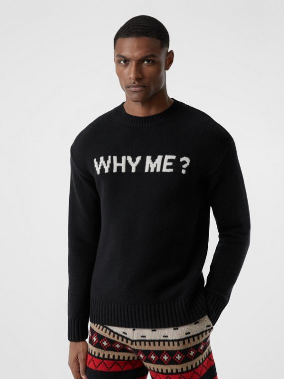 Slogan Intarsia Cashmere Sweater in Black
