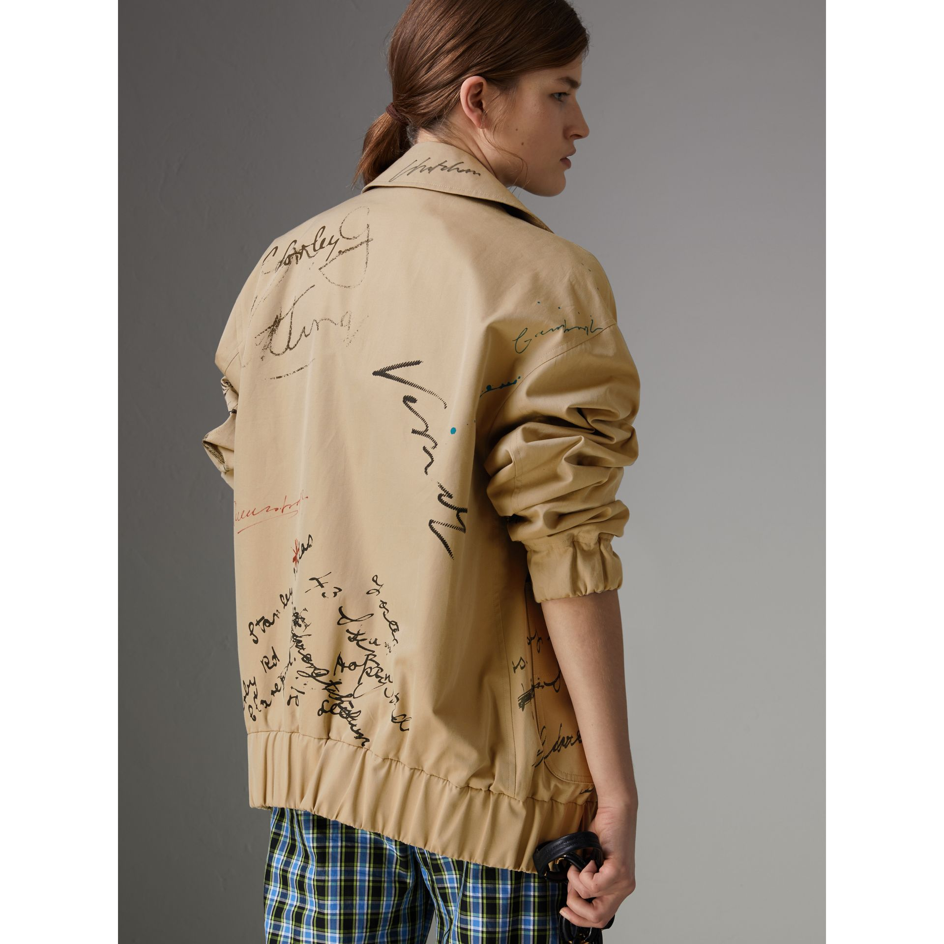 Postcard Print Tropical Gabardine Harrington Jacket in Honey - Women | Burberry - gallery image 2