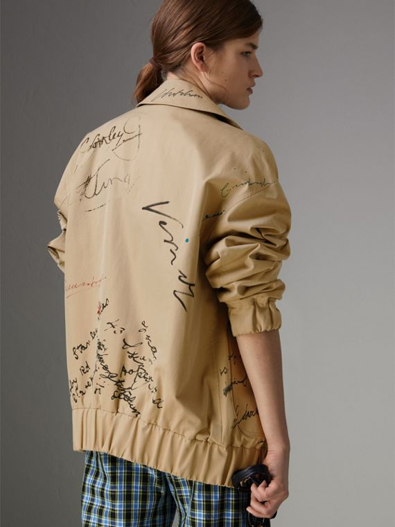 Postcard Print Tropical Gabardine Harrington Jacket in Honey - Women | Burberry United Kingdom - cell image 2