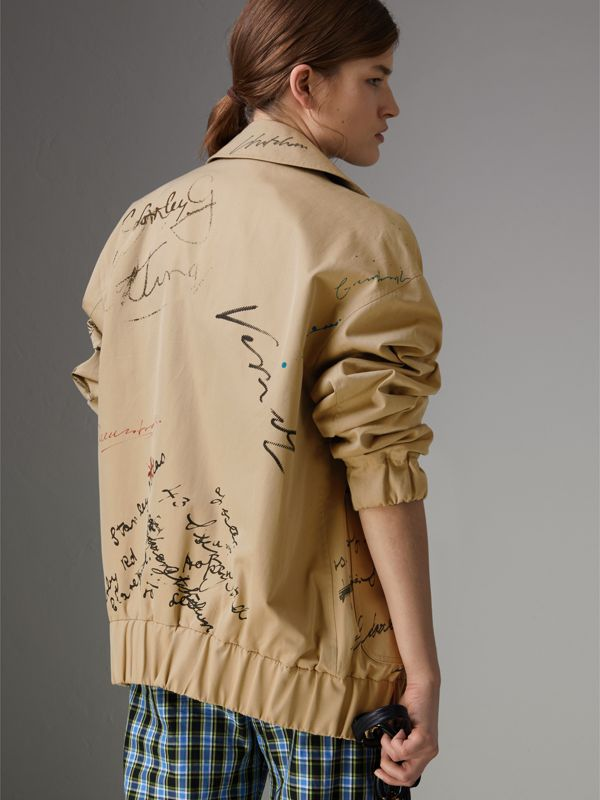 Postcard Print Tropical Gabardine Harrington Jacket in Honey - Women | Burberry - cell image 2