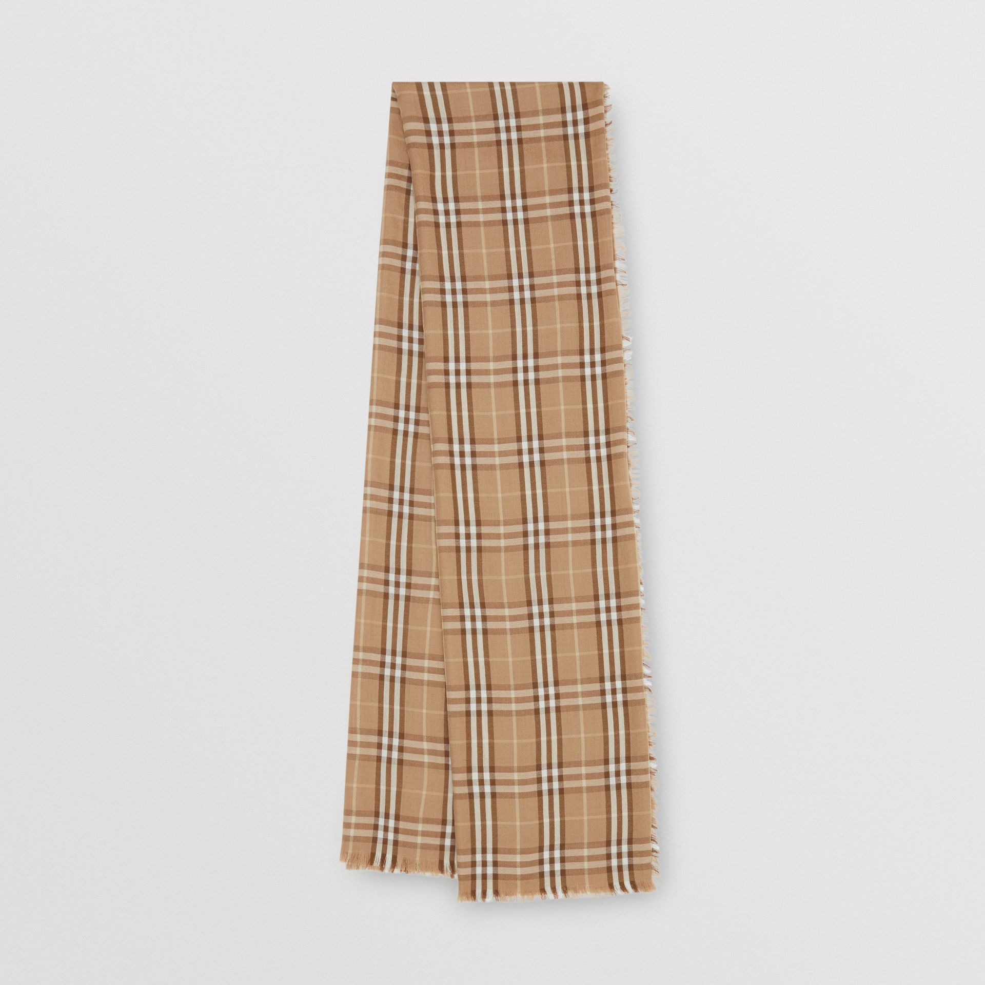 Vintage Check Lightweight Cashmere Scarf in Mid Camel | Burberry - gallery image 0
