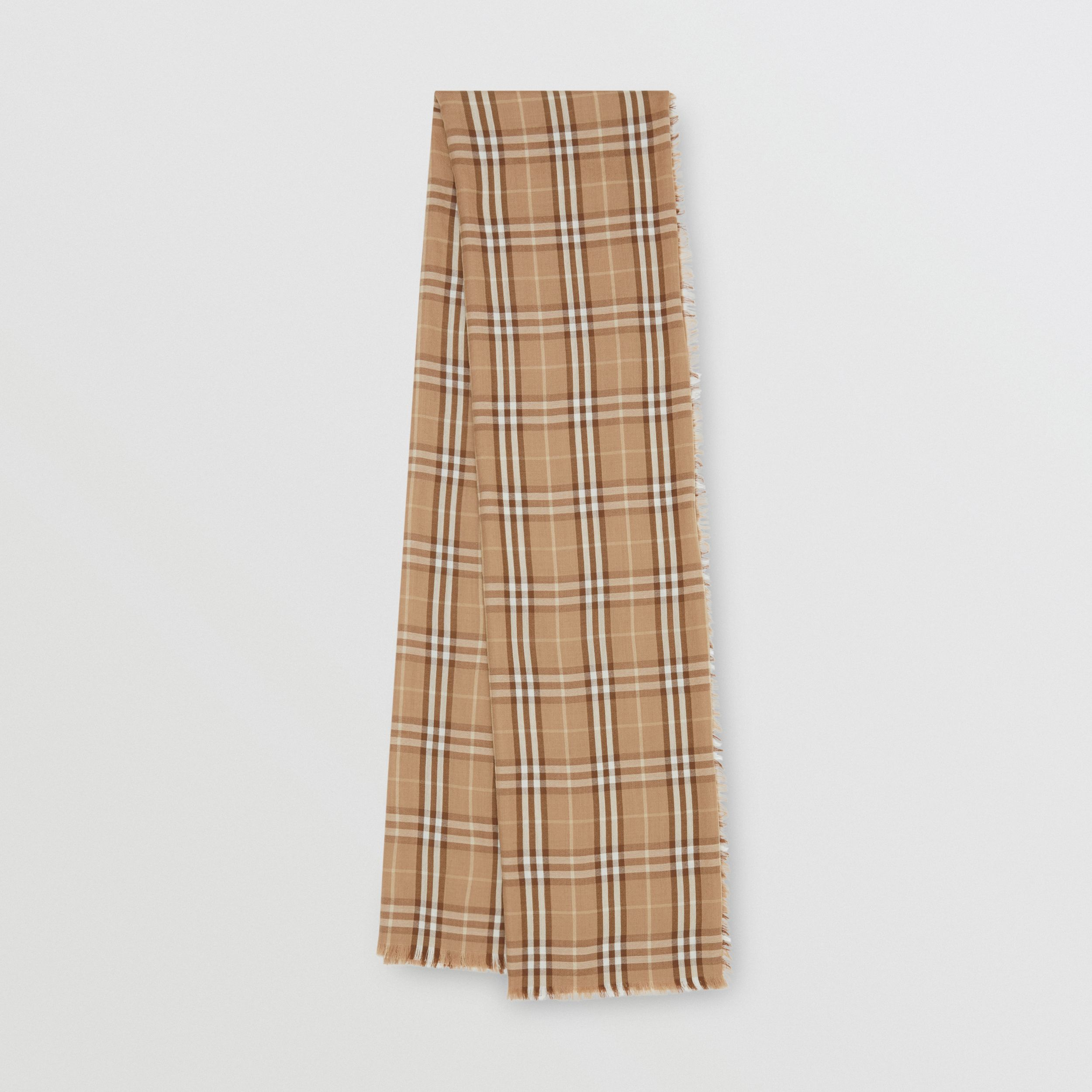 Vintage Check Lightweight Cashmere Scarf in Mid Camel | Burberry - 1