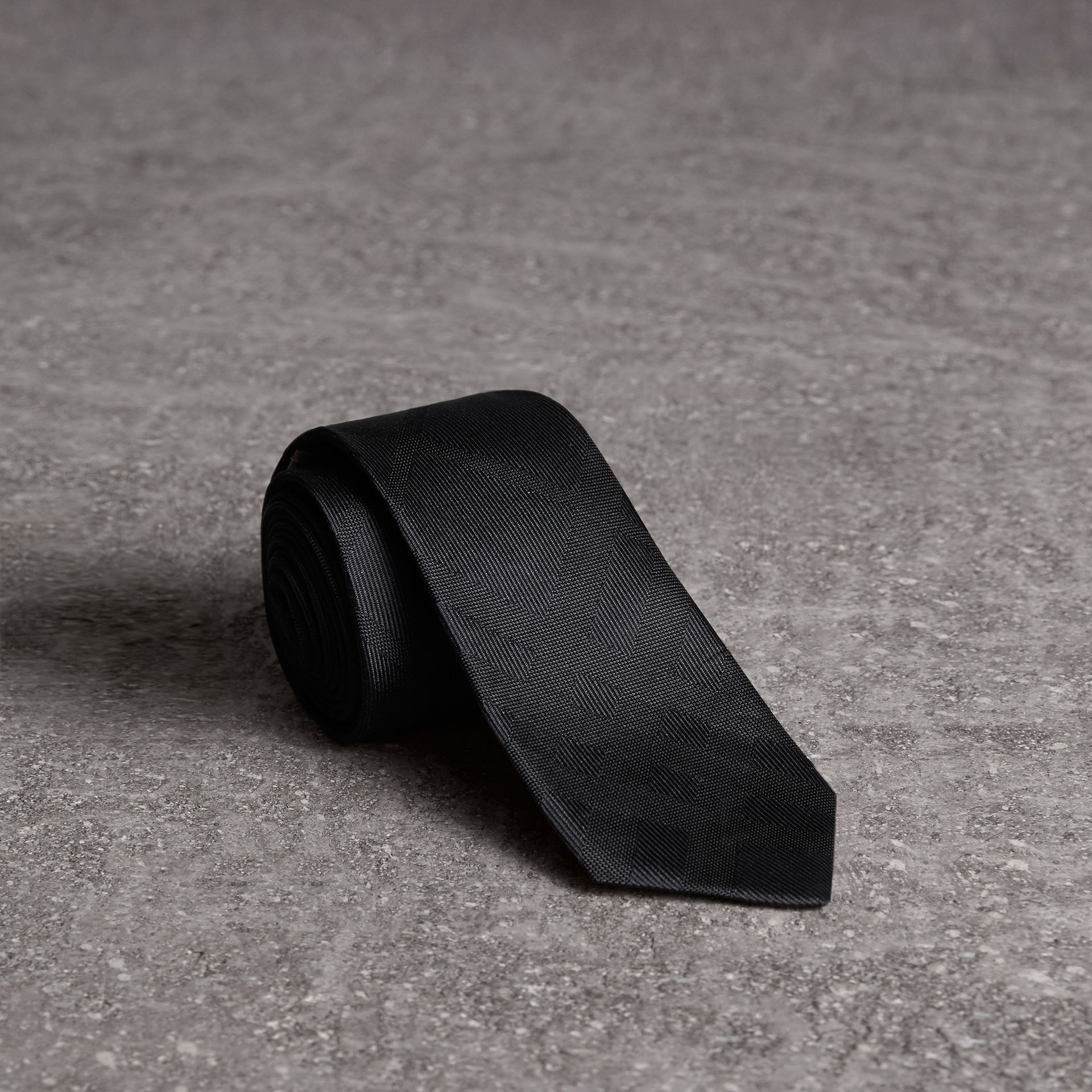 Slim Cut Check Silk Tie in Charcoal - Men | Burberry - gallery image 0