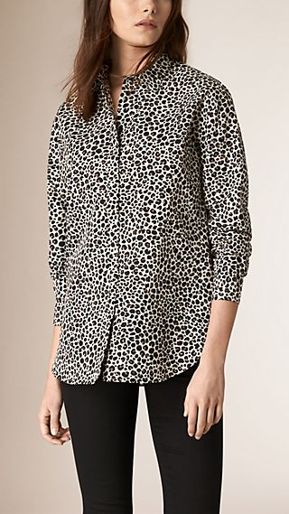 Oversize Animal Print Cotton Silk Shirt
