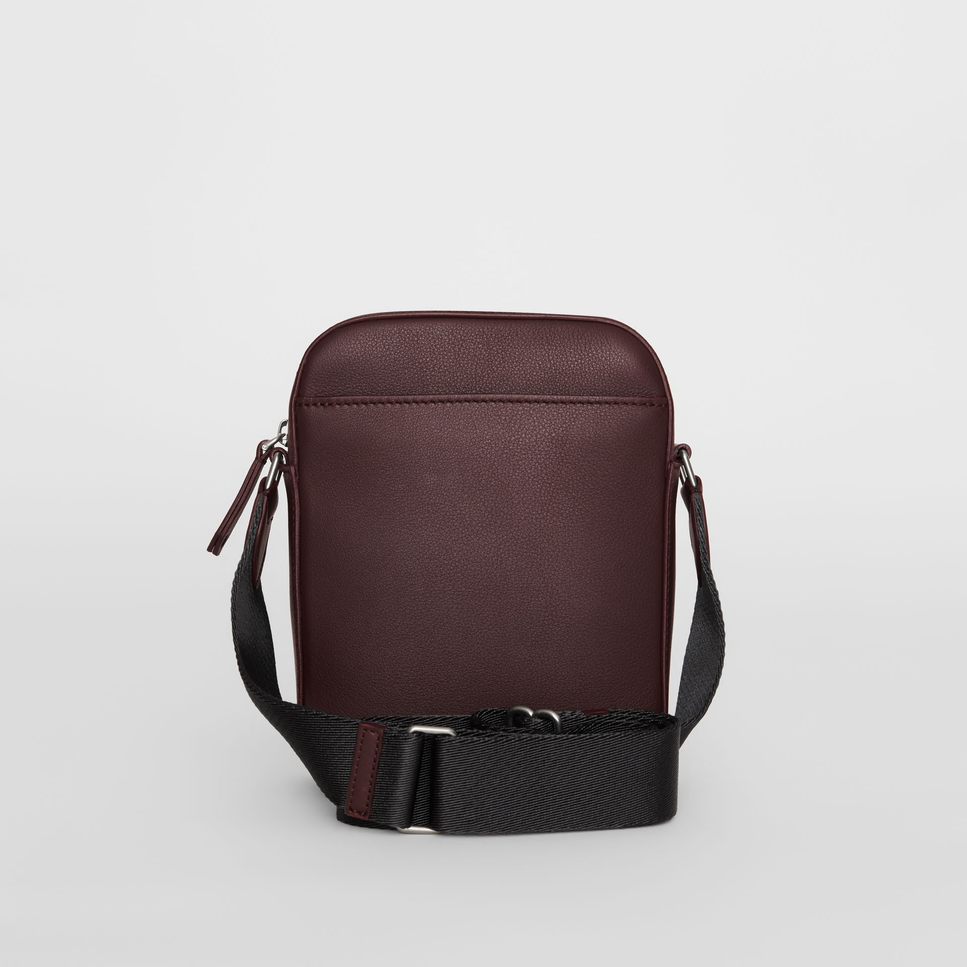Small Embossed Crest Leather Crossbody Bag in Oxblood - Men | Burberry Australia - gallery image 7