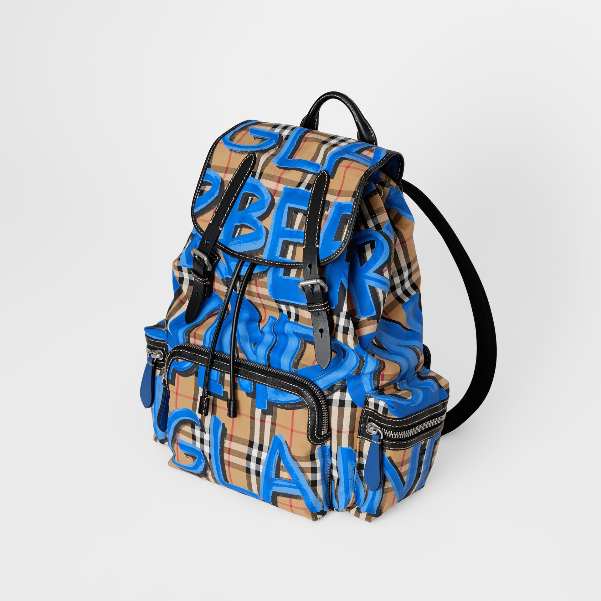 The Large Rucksack in Graffiti Print Vintage Check in Canvas Blue/antique Yellow - Men | Burberry - gallery image 4