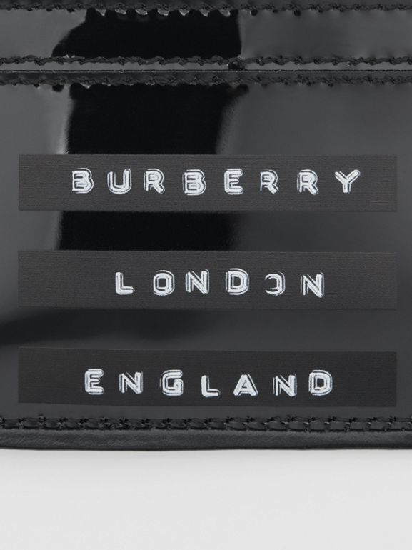 Tape Print Laminated Card Case in Black - Women | Burberry - cell image 1