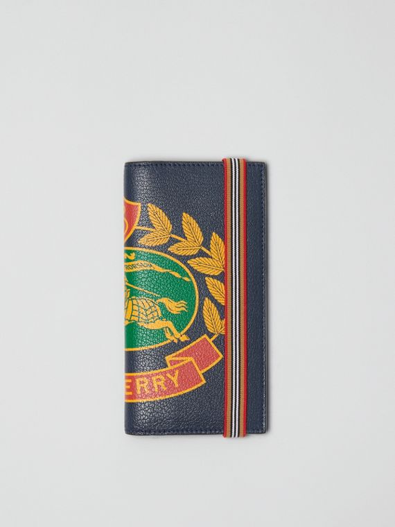Crest Print Leather Continental Wallet in Storm Blue