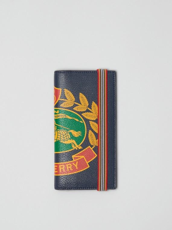 Lederbrieftasche im Kontinentalformat mit Ritteremblem (Sturmblau)