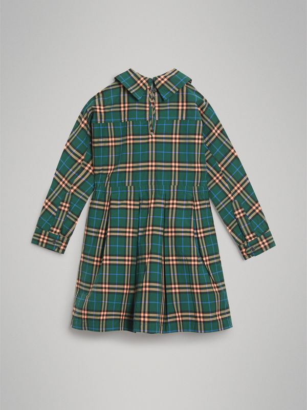 Check Cotton Drawcord Dress in Dark Forest Green | Burberry - cell image 3