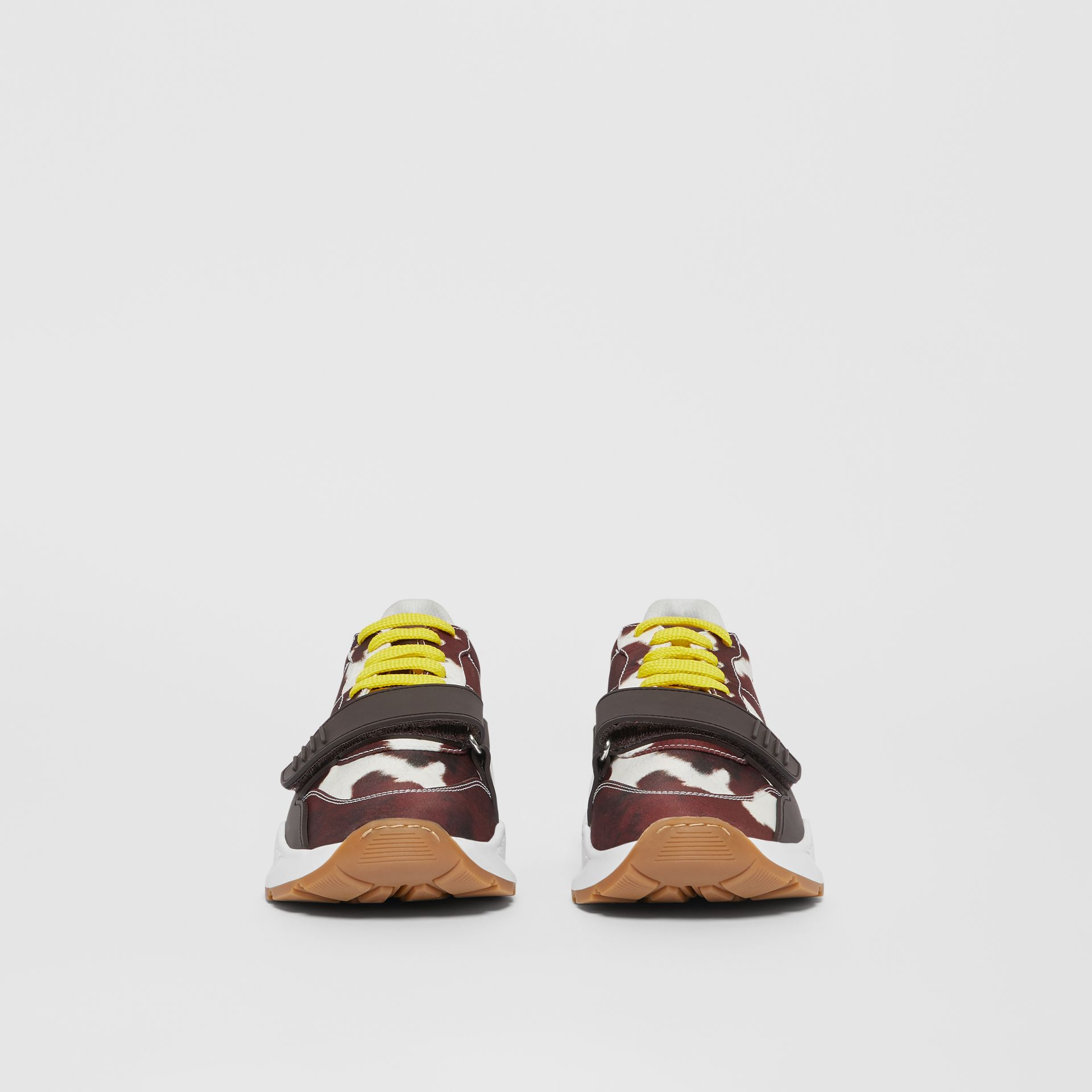 Cow Print Nylon Sneakers in Brown - Women | Burberry Hong Kong S.A.R - gallery image 3