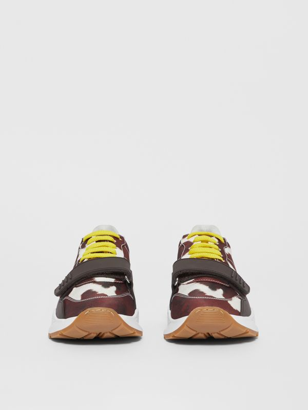 Cow Print Nylon Sneakers in Brown - Women | Burberry Hong Kong S.A.R - cell image 3