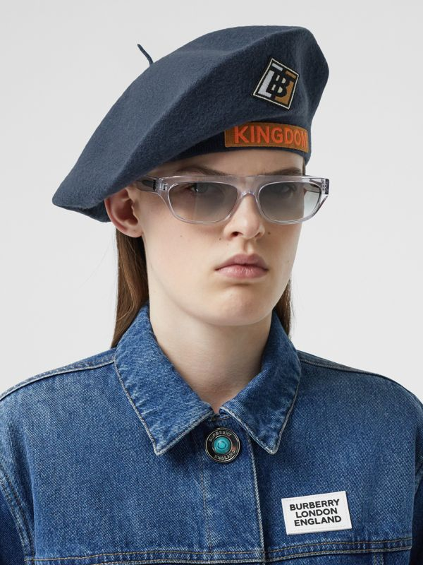 Logo Graphic Merino Wool Beret in Navy Stone | Burberry - cell image 2