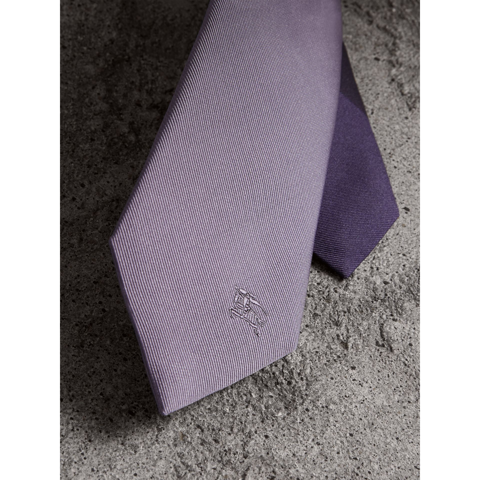 Slim Cut Check Silk Twill Tie in Lilac - Men | Burberry - gallery image 2