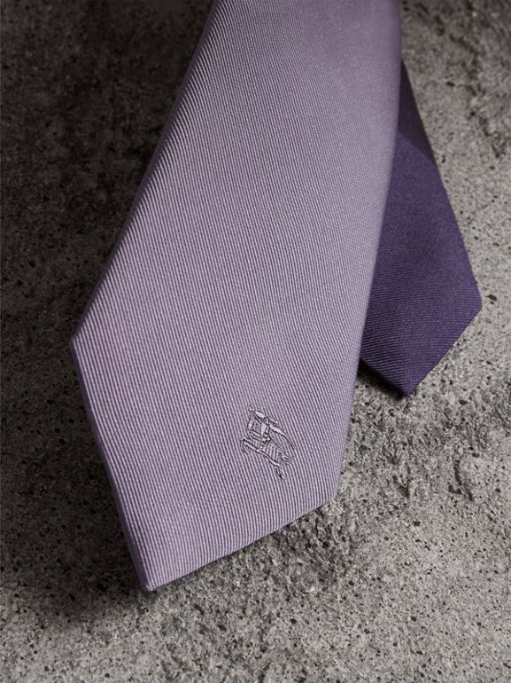 Slim Cut Check Silk Twill Tie in Lilac - Men | Burberry - cell image 1