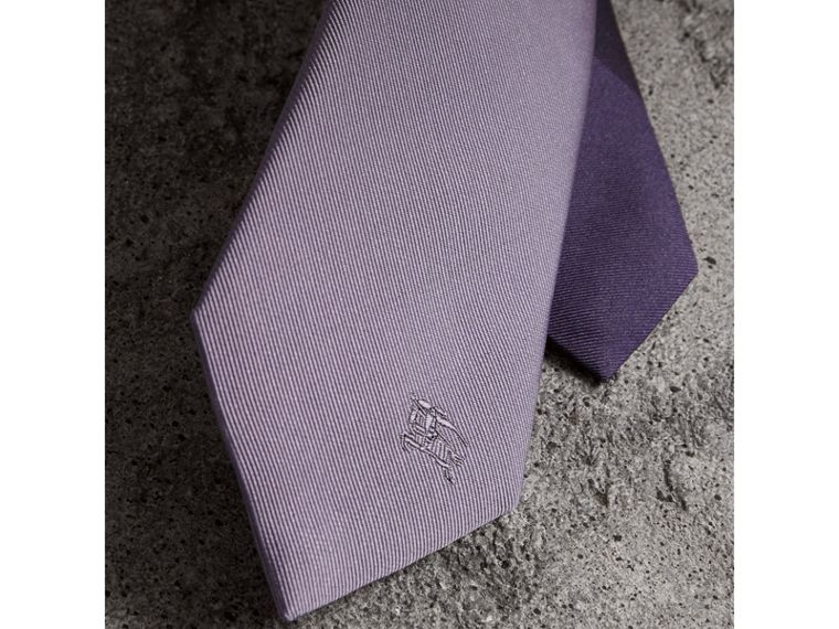 Slim Cut Check Silk Twill Tie in Lilac - Men | Burberry United States - cell image 1