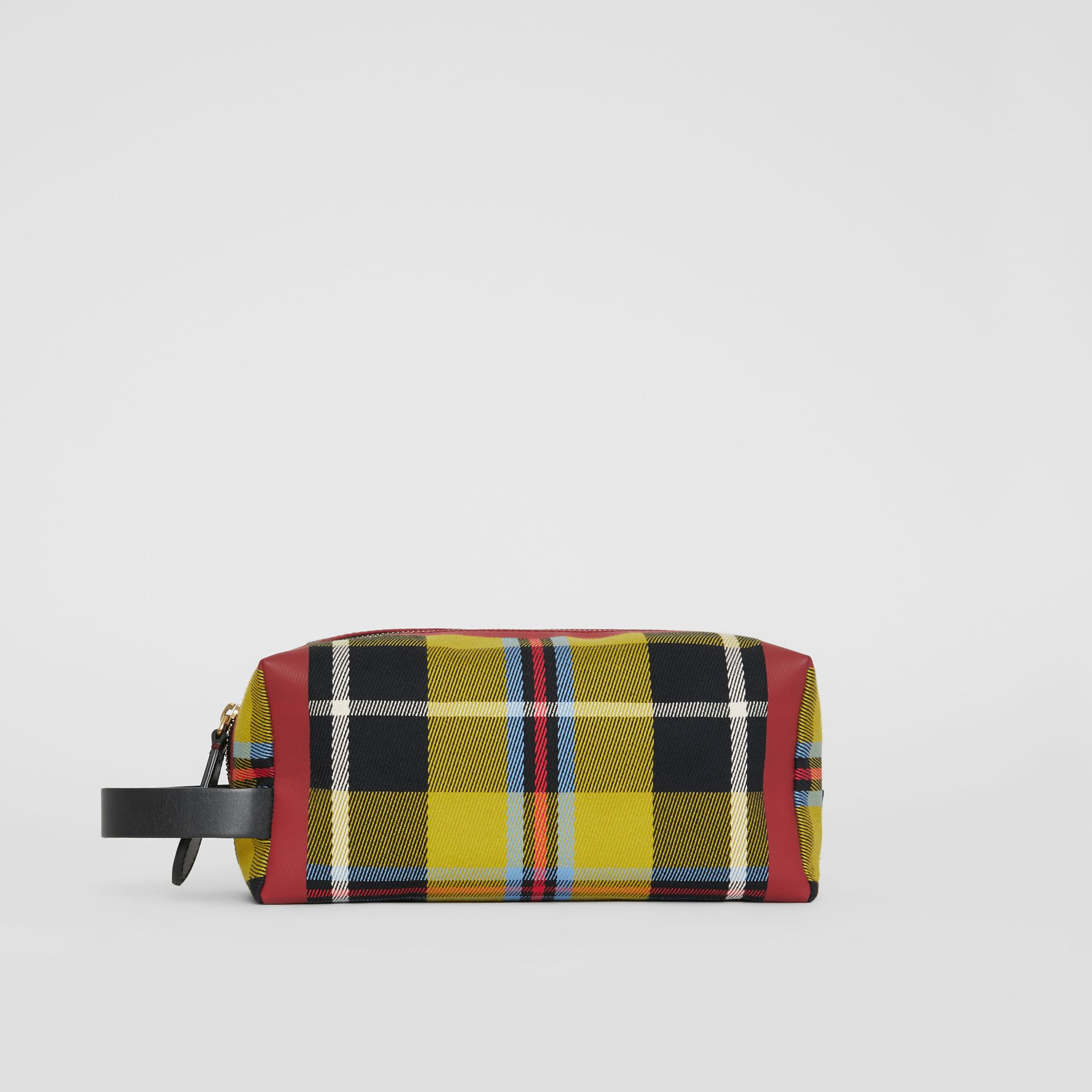 Tartan Cotton Pouch in Ochre Yellow | Burberry - gallery image 4