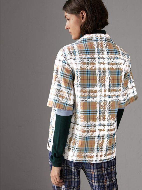 Short-sleeve Scribble Check Cotton Shirt in Bright Mineral Blue - Women | Burberry United Kingdom - cell image 2
