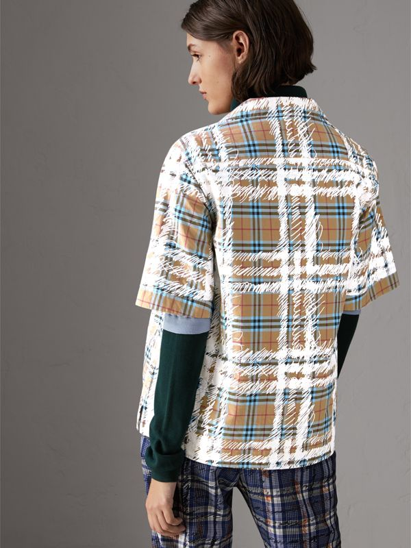Short-sleeve Scribble Check Cotton Shirt in Bright Mineral Blue - Women | Burberry - cell image 2