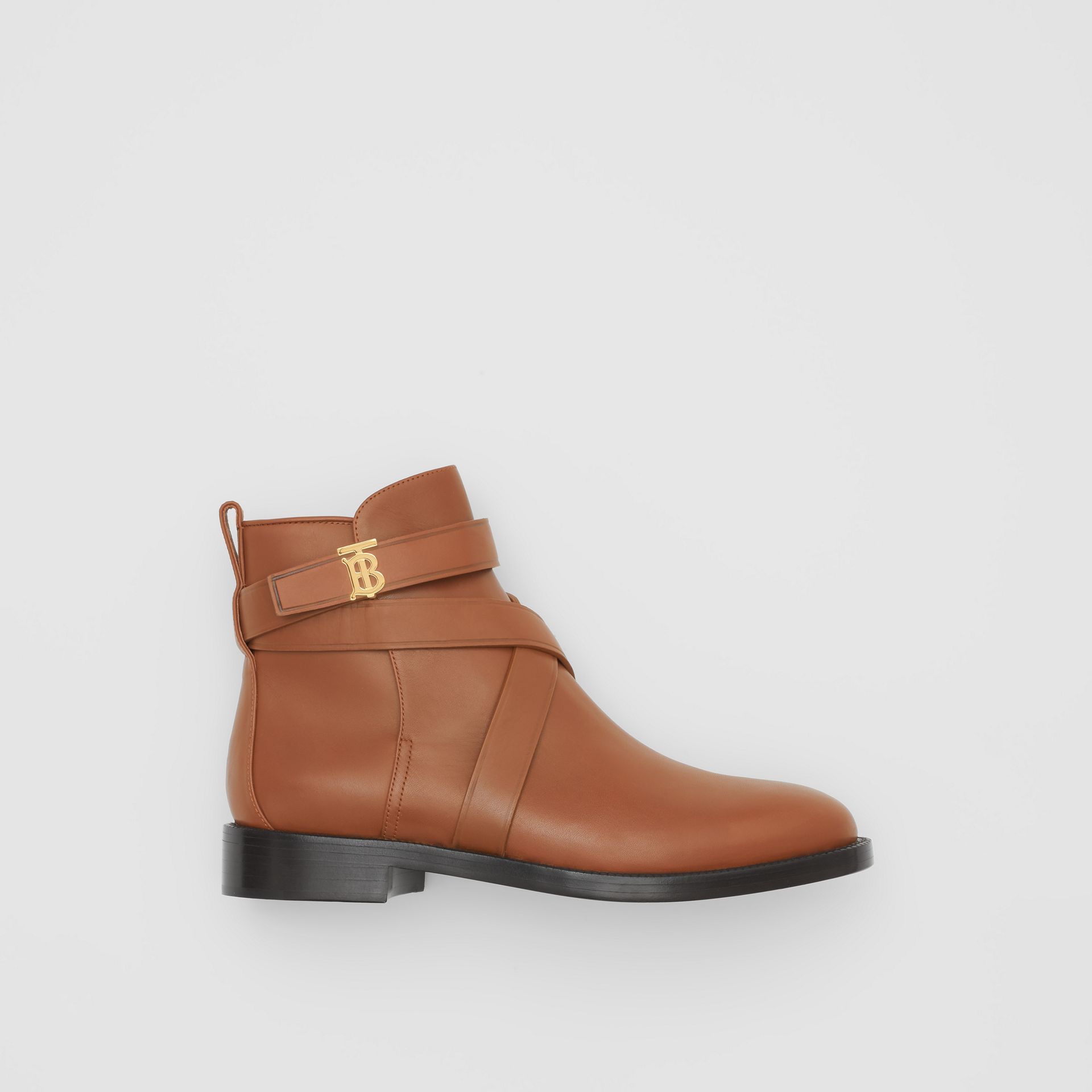 Monogram Motif Leather Ankle Boots in Tan - Women | Burberry United Kingdom - gallery image 0
