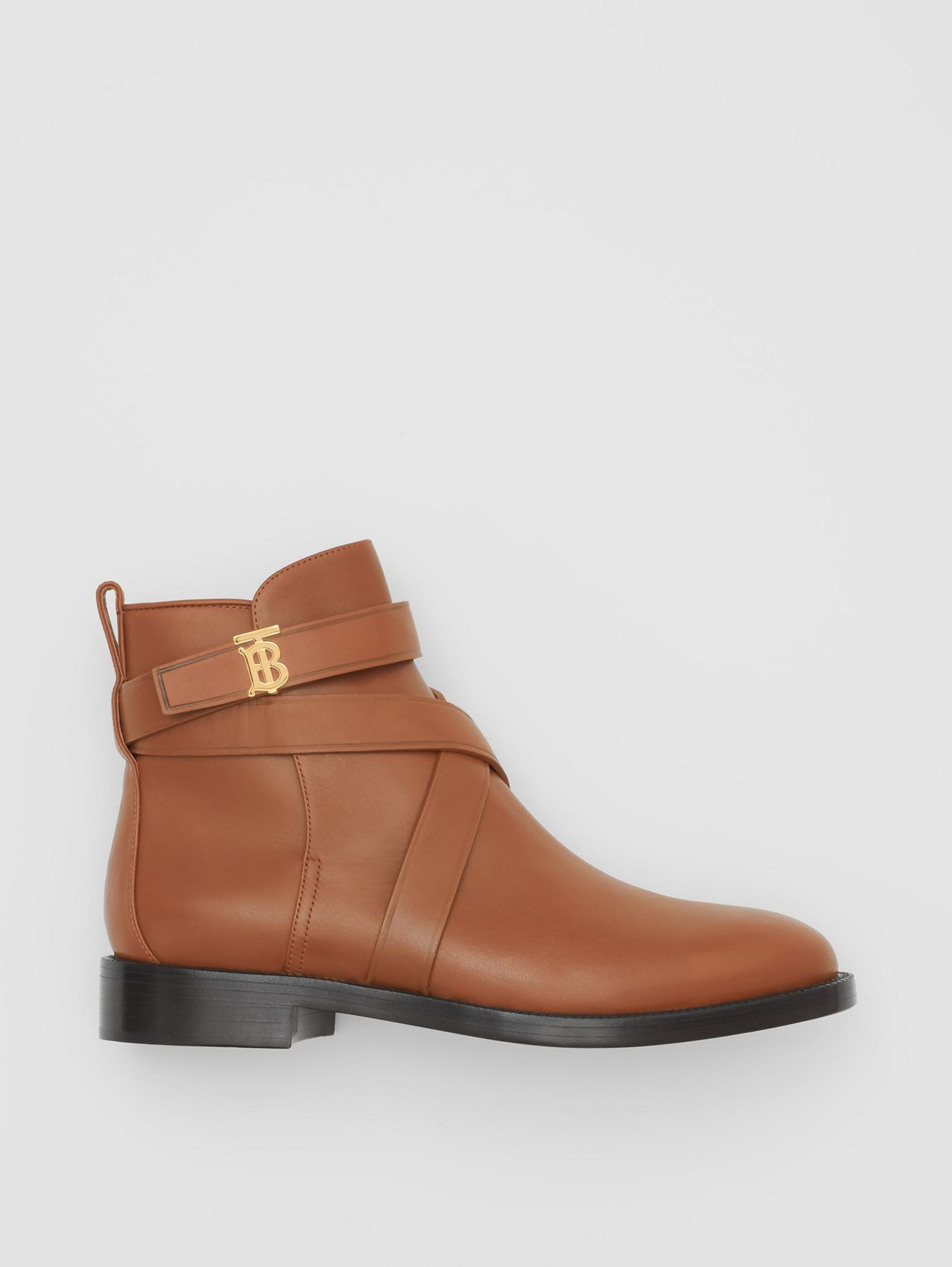 Monogram Motif Leather Ankle Boots (Tan)