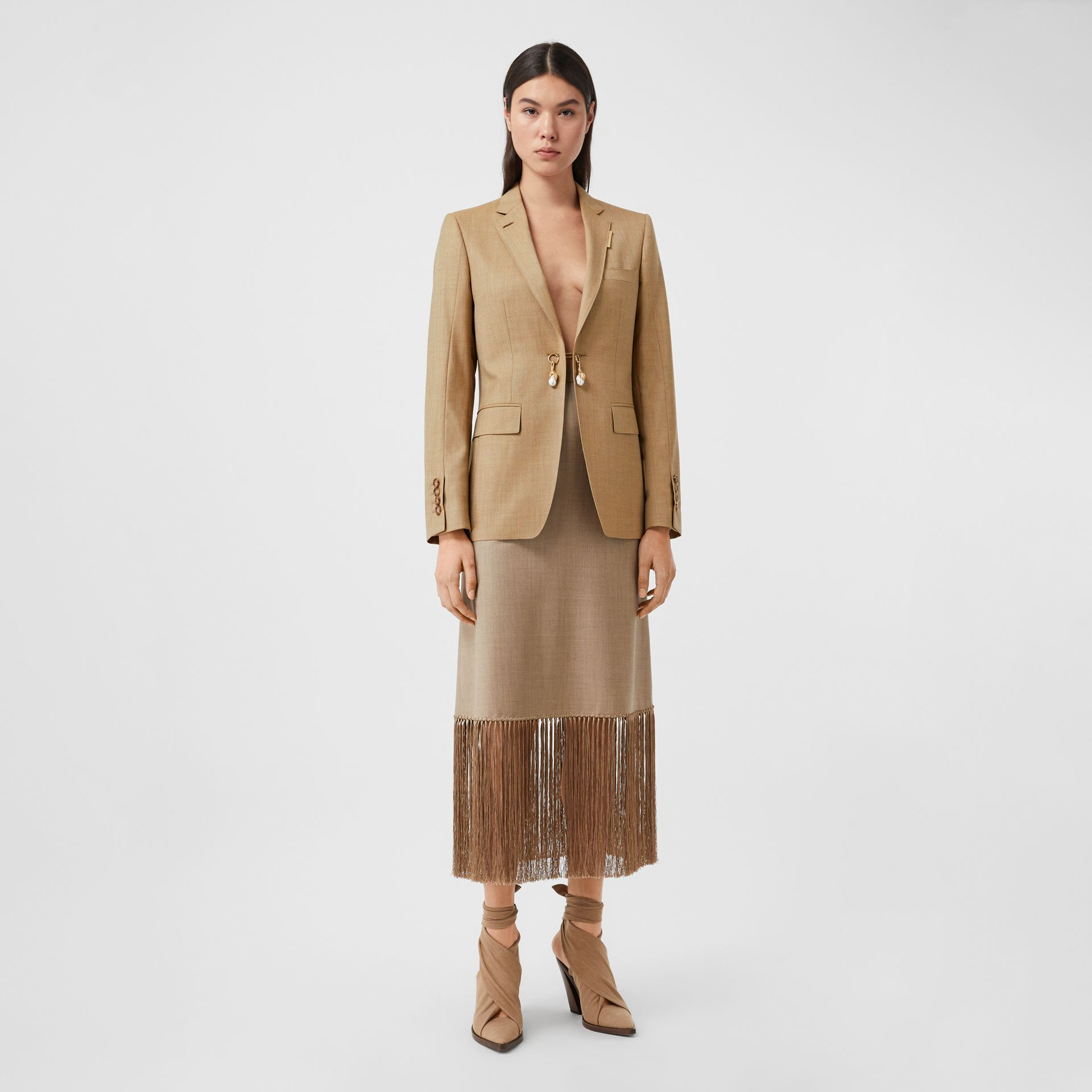 Link Detail Wool Cashmere Blazer in Pecan Melange - Women | Burberry United Kingdom - gallery image 3
