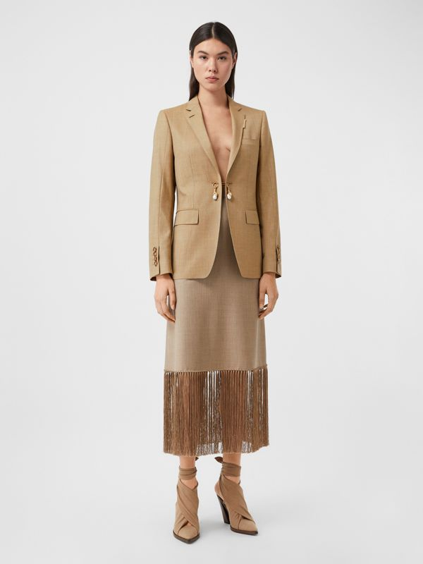 Link Detail Wool Cashmere Blazer in Pecan Melange - Women | Burberry - cell image 3