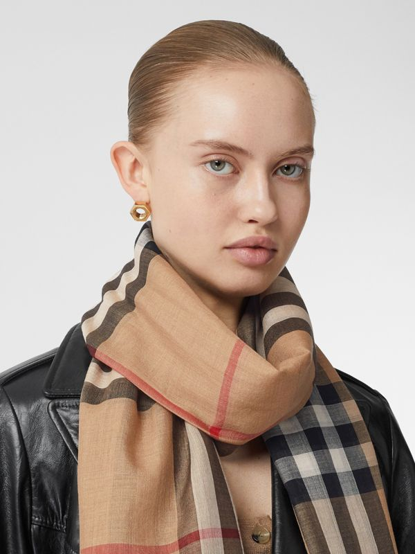 Lightweight Check Wool and Silk Scarf in Camel | Burberry United States - cell image 2